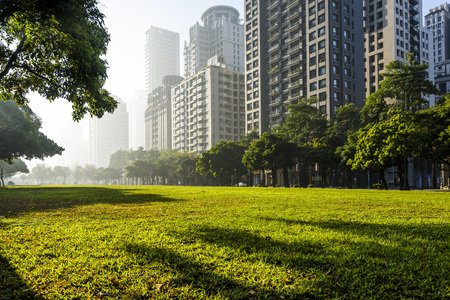 View of a park in the downtown area of ​​Taichung in Taiwan