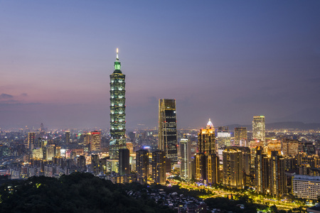 Taipei City Skyline at night, Taiwan. 免版税图像