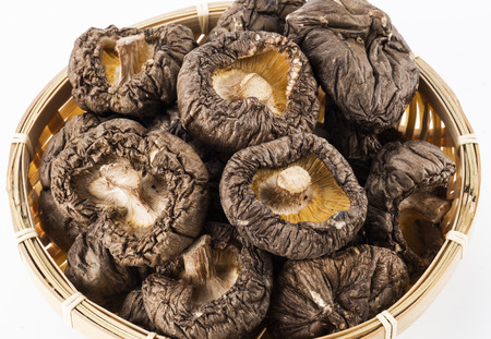Dried shiitake mushrooms in basket