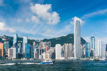 Hong Kong cityscape, View From Victoria Harbour. International Finance Center (IFC) in Hong Kong.
