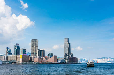 Panoramic view of West Kowloon and Victoria Harbour in Hong Kong.