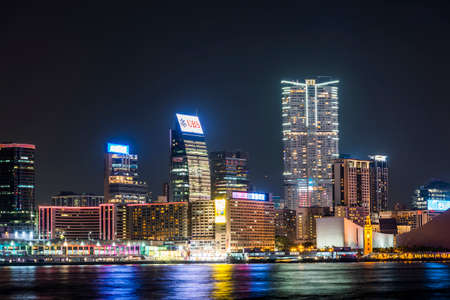 night view of Hong Kong modern business buildings in China, Asia. Editorial