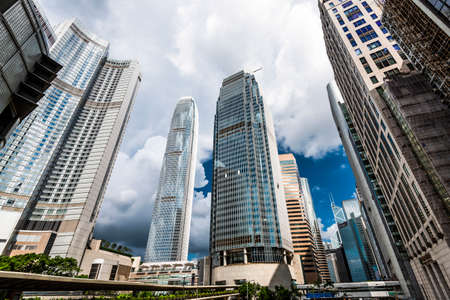 low angle view of modern office block buildings in Central, Hong Kong.