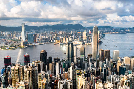 Hong Kong city skyline view from the Victoria peak. Editorial