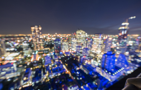 sky line: Image of blurry aerial view sky line of Bangkok city night scape with bokeh light
