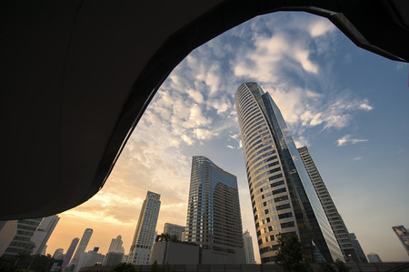 cbd: Central Business district, CBD of Bangkok on Sathorn road shooting on twilight sunsets