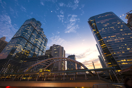 Central Business district, CBD of Bangkok on Sathorn road shooting on twilight sunsets