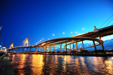 Panorama scene of bhumibol bridge, modern landmark over Chaopraya river, with blue sky twilight Stock Photo