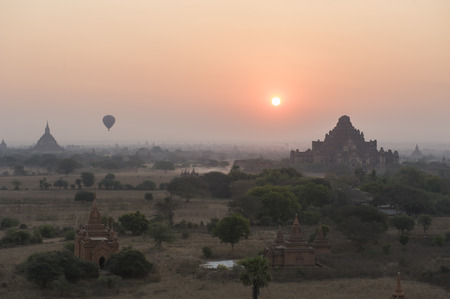 Silhouette of Pagodas field at Bagan , Myanmar