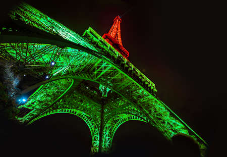 pyrotechnics: Eiffel Tower Light Performance, Lit up show.