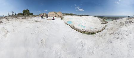 PAMUKKALE, TURKEY - APRIL 12, 2015: Turquoise water travertine pool terrace at pamukkale Editorial