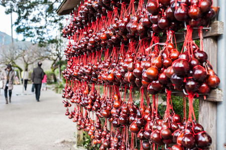 chinese food container: Red dry bottle gourd hanging on bar, item for luck in the temple.
