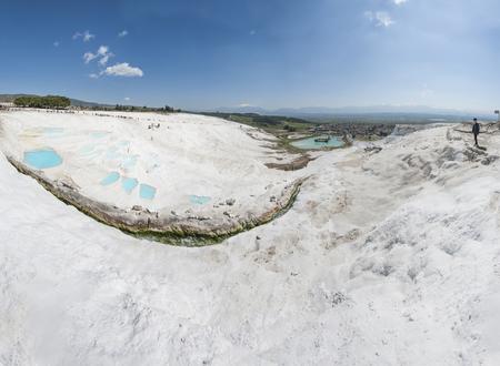 Turquoise water travertine pool terrace at pamukkale