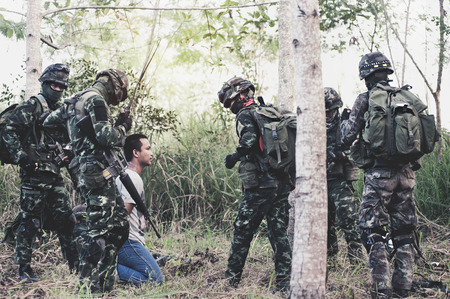 PRANBURI, THAILAND - November 25, 2016 - Military Rangers team in training, attack and arrest the terrorist