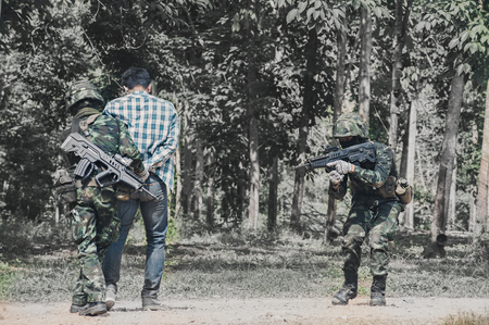 Military Rangers team in training, attack and arrest the terrorism Editorial