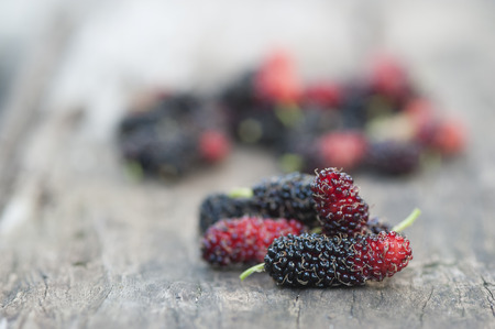 Mulberry red and black berry fruit in wooden spoon locates on a surface vintage wooden background Banco de Imagens