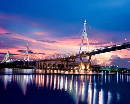 Bhumibol Bridge in Thailand country Stock Photo