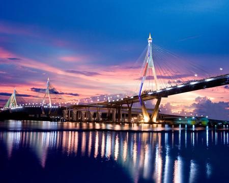 bridge construction: Bhumibol Bridge in Thailand country Stock Photo