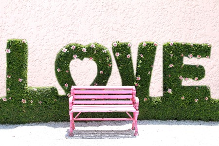 Pink chair in love garden