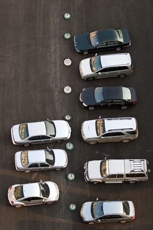 Several car in parking lot photo