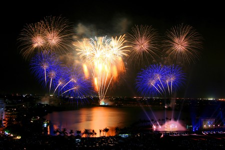 holiday display: Beautiful firework in Thailand