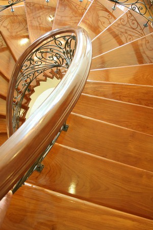 wooden railings: wooden staircase  Stock Photo