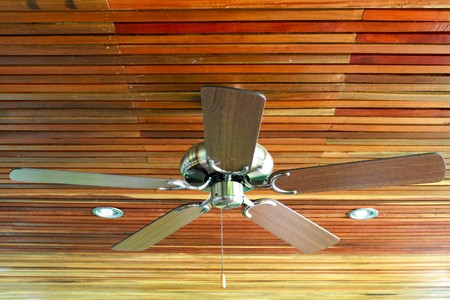 ceiling fan: Ceiling Fan in a old wooden house Stock Photo