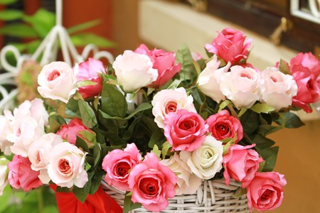 Big Pink Roses Bouquet  Stock Photo
