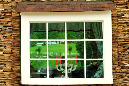 pane: Old window and brick wall