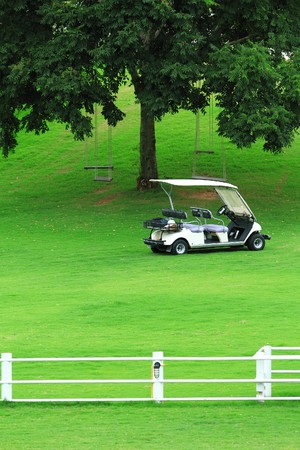 White golf cart in golf course photo