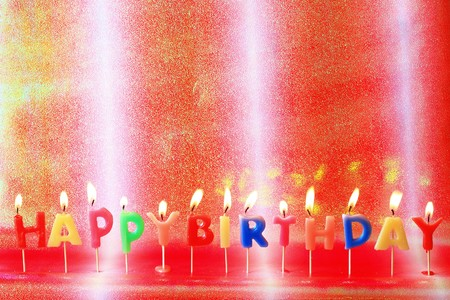 Birthday candles on colorful background Stock Photo - 7746703