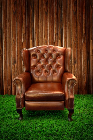 Leather sofa on green grass against wooden wall