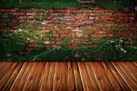Old brick wall and wood floor interior photo