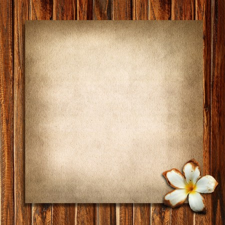 Old paper and plumeria with wood background photo