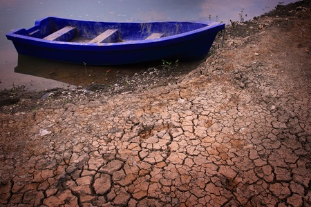 beached: plastic boat on dry soil