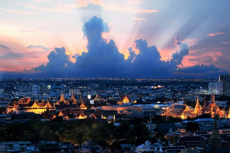 Bangkok grand palace at night with beautiful sky photo