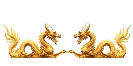 dragon chinois: dragon d'or sur fond blanc Banque d'images