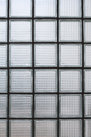 glas kunst: Glasblokken muur