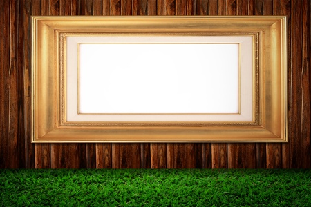 Photo frame on old wooden wall photo