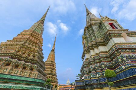 Wat Pho has beautiful architecture and is a major tourist attraction of Bangkok in Thailand.