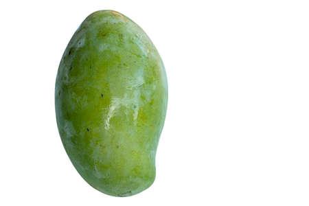 Fresh green mango fruit isolated on a white background