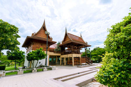 Thai traditional house in a beautiful garden in Thailand