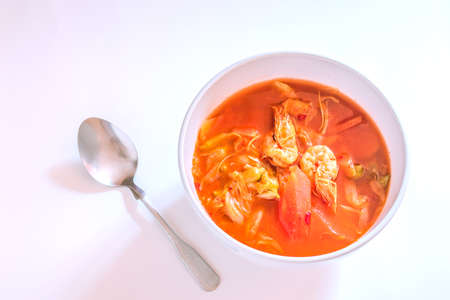 Thai curry food In a bowl on a white background