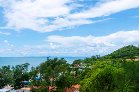 Beautiful sea and mountain views under the bright blue sky. Stock fotó