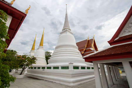 Beautiful large white pagoda in a Buddhist temple in Thailand