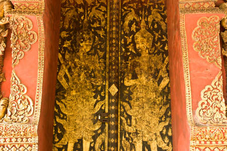 thai style texture on the door photo