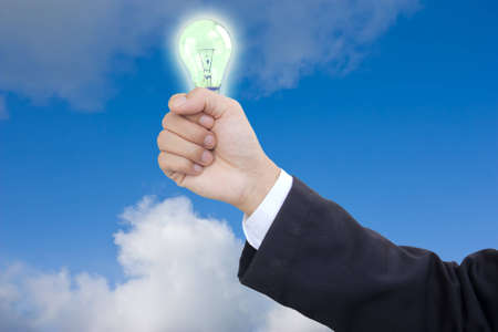 business hand holding for save energy Stock Photo