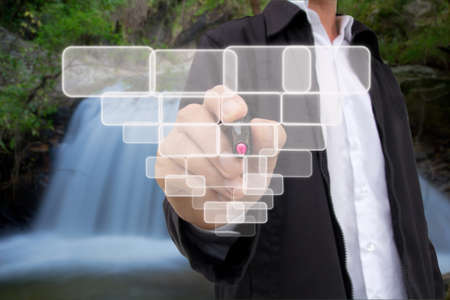 business hand pushing touch screen