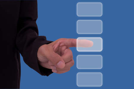 Businessman hand touch screen button of 5 choices