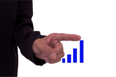 hand pulling up a bar from a graph